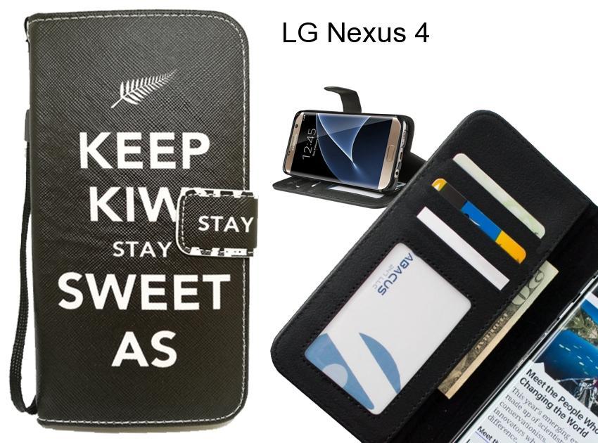 best service fecba 1931b LG Nexus 4 case 3 card leather wallet case printed ID